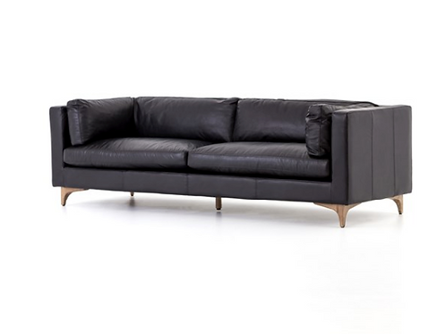 Helena Leather Sofa - Black