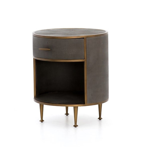 Shagreen Nightstand - Rounded