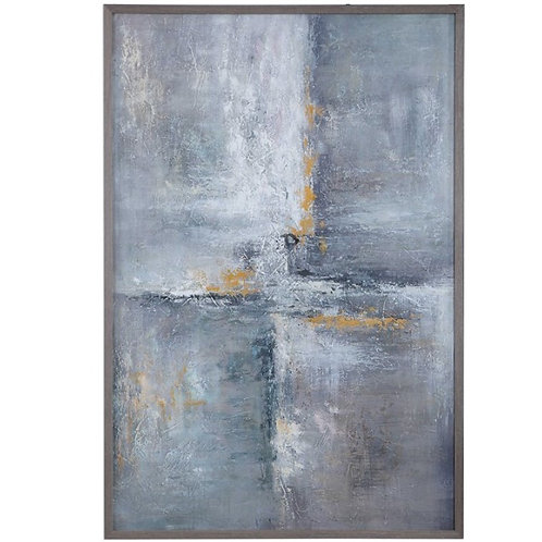 "42"" x 62"" Hand Painted Canvas - Gray"