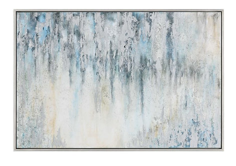 """61"""" x 42"""" Hand Painted Canvas in Silver Leaf Frame"""