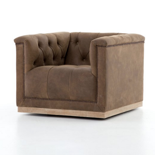 Bleriot Swivel Chair - Vintage Leather Brown