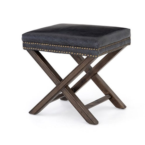 Hyde Leather Ottoman - Black