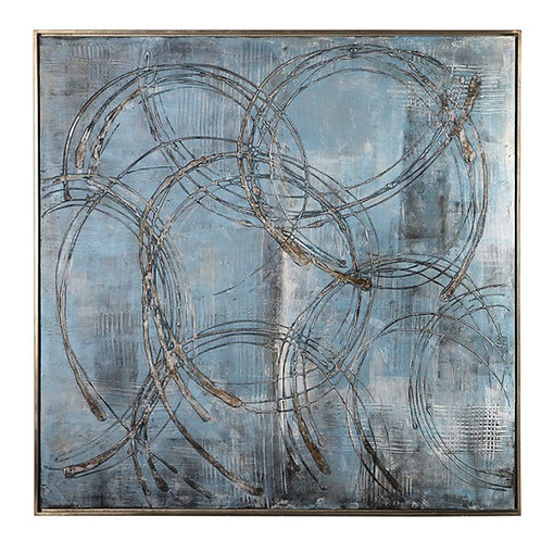 """46"""" x 46"""" Hand Painted Canvas - Blue"""