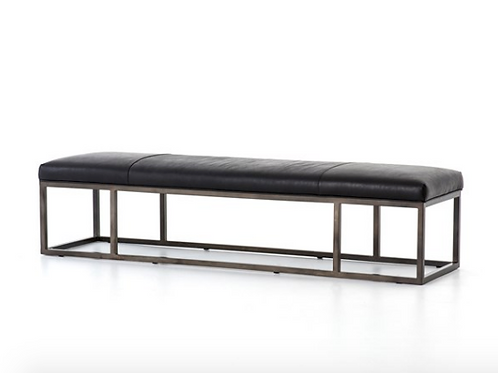 Driggs Leather Bench - Black