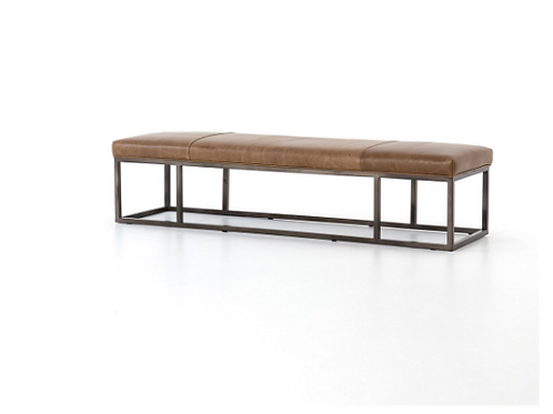 Driggs Leather Bench - Brown