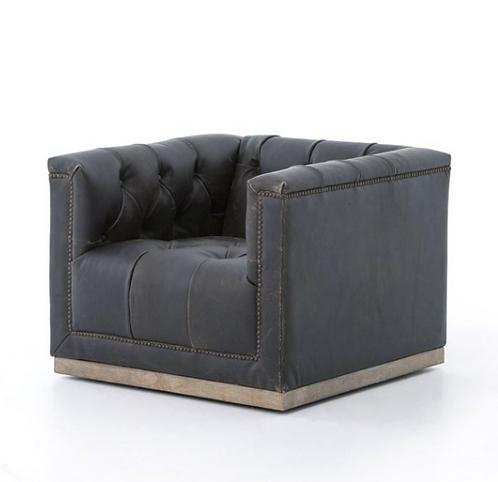 Bleriot Swivel Chair - Vintage Leather Black