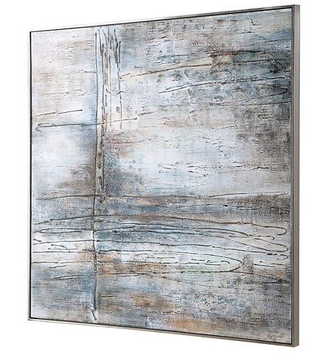 """51"""" x 51"""" Hand Painted Canvas - Silver Frame"""