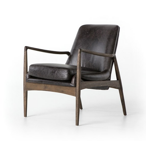 Draper Accent Chair - Black Leather