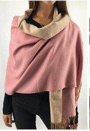 C15 Bufandones de lana doble faz