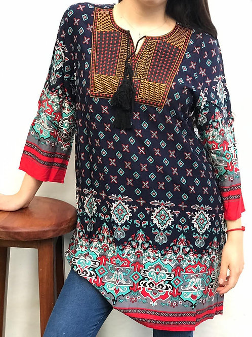 I-1080 Blusas de algodón, con detalles de bordado en escote y lazo