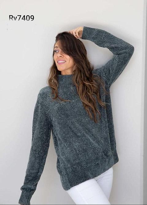 7409 Pulover de lana tipo chifón, con puños. Importado