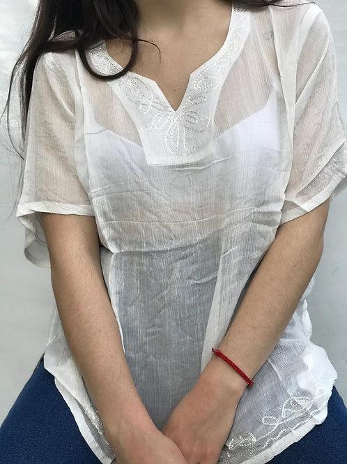 I-285343 Blusa de algodón con bordados,manga corta