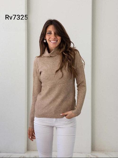 7325 Pulover de lana, tipo cashmere, cuello alto.