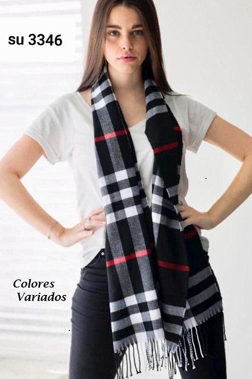 3346 Bufandas de lana escosesas, colores variados.