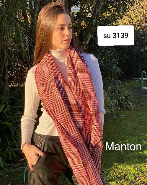 3139 Mantón de lana, colores variados.