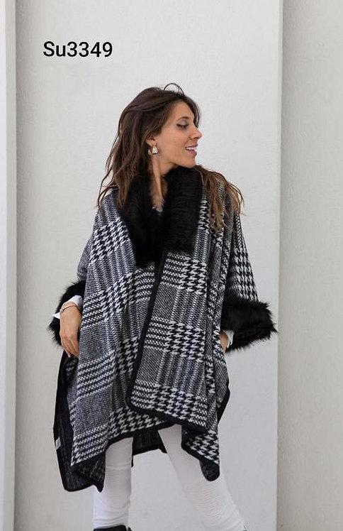 3349 Ruana de lana alta densidad con piel, calidad Premium