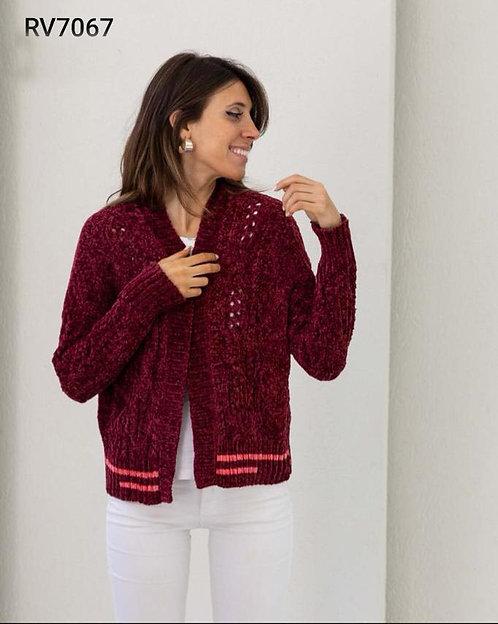 7067 Saquito de lana combinado, tejido calado