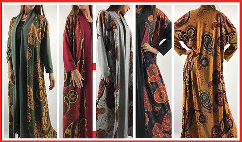 BM19 Kimono largo de lanilla estampado, amplios.