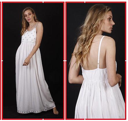 516- Vestido de algodón sin mangas con apliques.