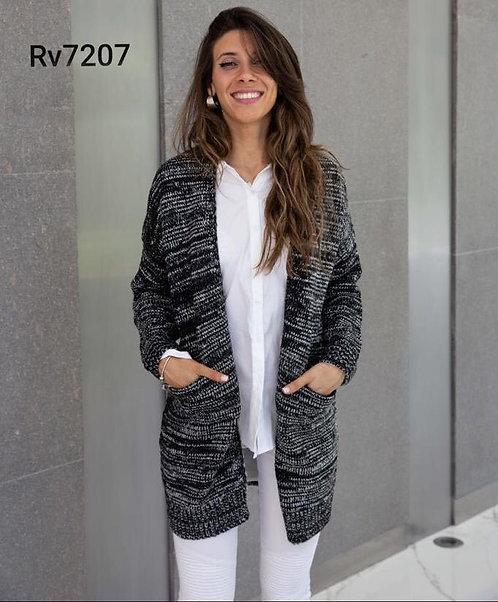 7207 Cardigan de lana jaspeado