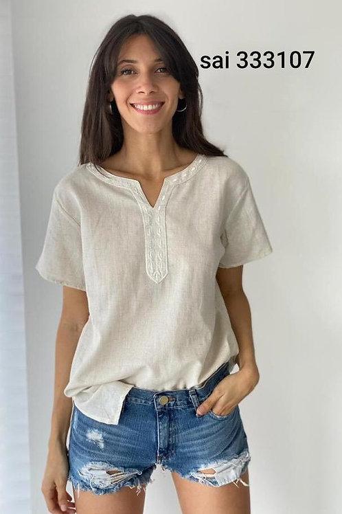 333108 - Blusa de algodón manga corta, con aplique