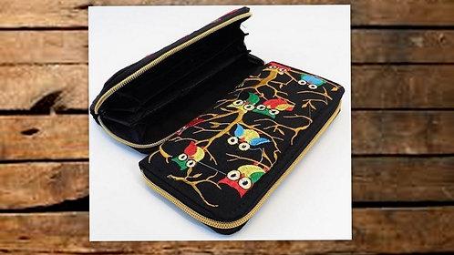 M_140 Billetera bordada, diseño búhos