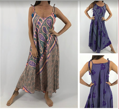 PA 823 Vestidos largos de SEDA ESTAMPADA. Origen: India.