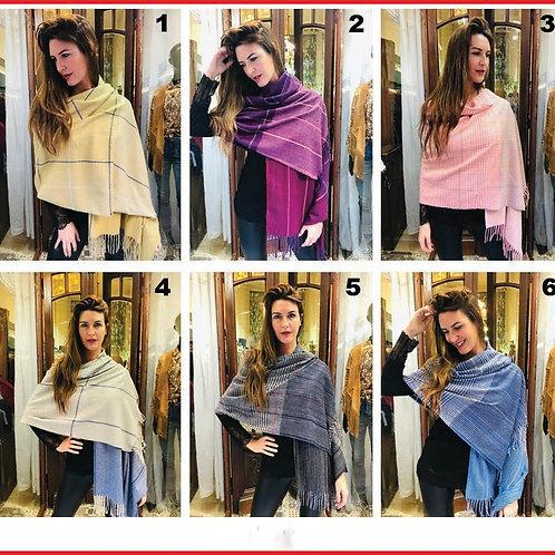 L-0017 Bufandas de lana combinadas con flecos