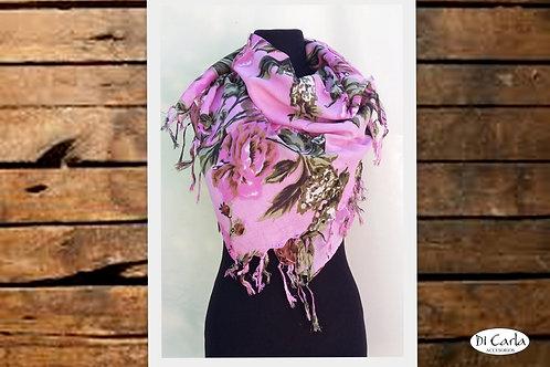 F-583 Pañuelos floreados de algodón, con flecos