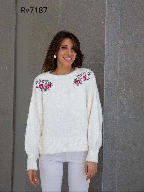 7187 Pulover de lana tipo cashmere con bordados