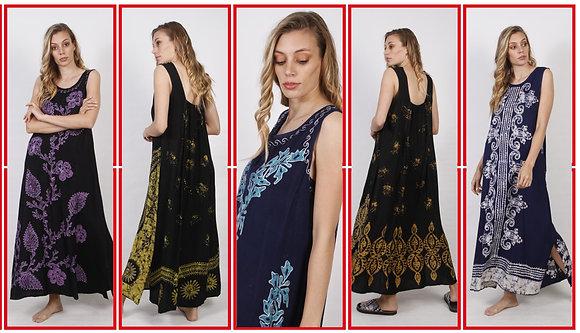 706- Vestido de fibrana con batik y bordado.