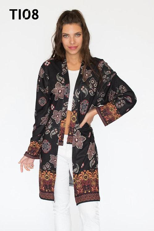 TI08 kimono de lanilla estampado. Talle único grande ( 38 a 48)