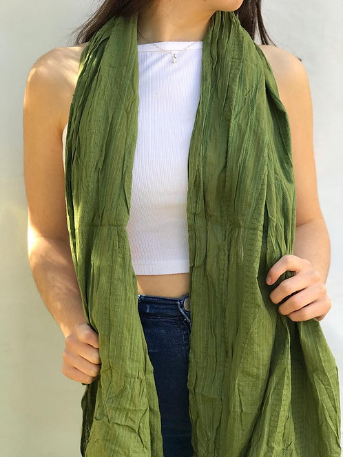 P-3911 Pashmina de algodón plisada con flecos