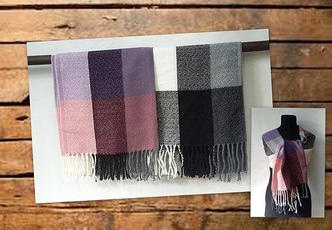 L-0369 Bufandas de lana con flecos, diseño rayas y cuadrille