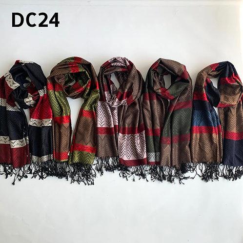 DC24 Pashminas de jackard con flecos