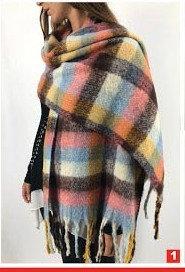 C11B Bufandones de lana diseño cuadrille con flecos