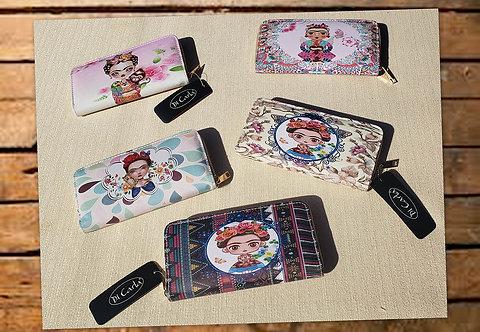 BT-15 Billeteras estampadas diseño Frida Kahlo. Con cierre