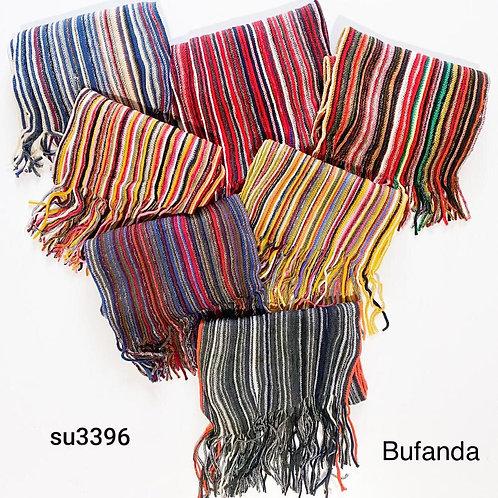 3396 Bufandas de lana con flecos. UNISEX