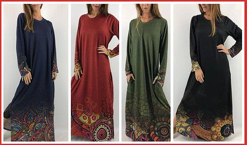 BM17 - Vestidos largos de lanilla sublimados con arabescos y mandalas