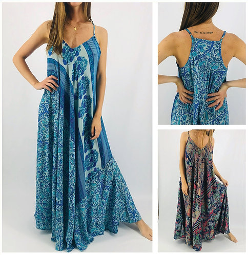 PA 826 - Vestidos largos de SEDA ESTAMPADA. Origen: India.