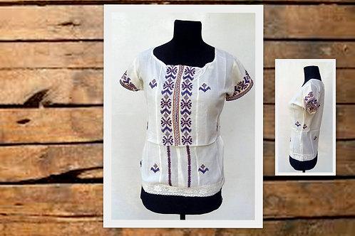I-1207 Blusas de algodón con puntilla y bordado, manga corta.