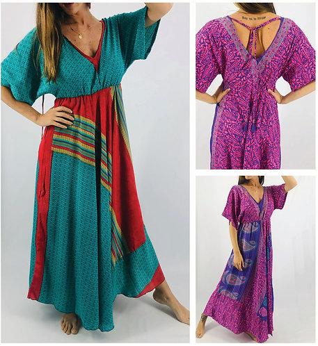 PA816 Vestidos largos de SEDA ESTAMPADA. Origen: India.