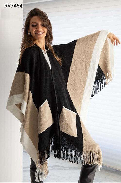 7454 Ruana de lana, combinada