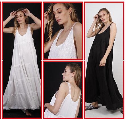 507-Vestido de algodón con apliques sin mangas.