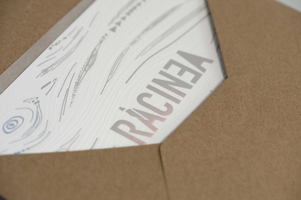 carton invitation letterpress film holographique