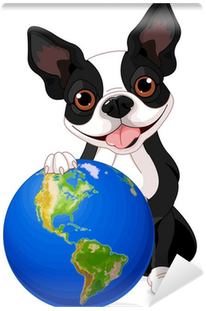 dog with globe