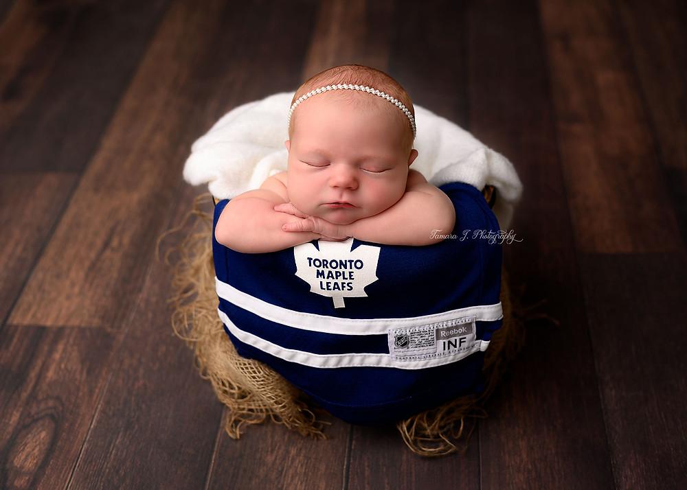 Calgary Newborn Photographer Calgary Baby Photographer Toronto Maple Leafs