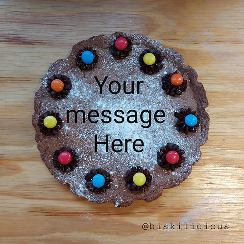Giant chocolate chip message cookie