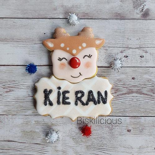 Personalised Reindeer cookie set
