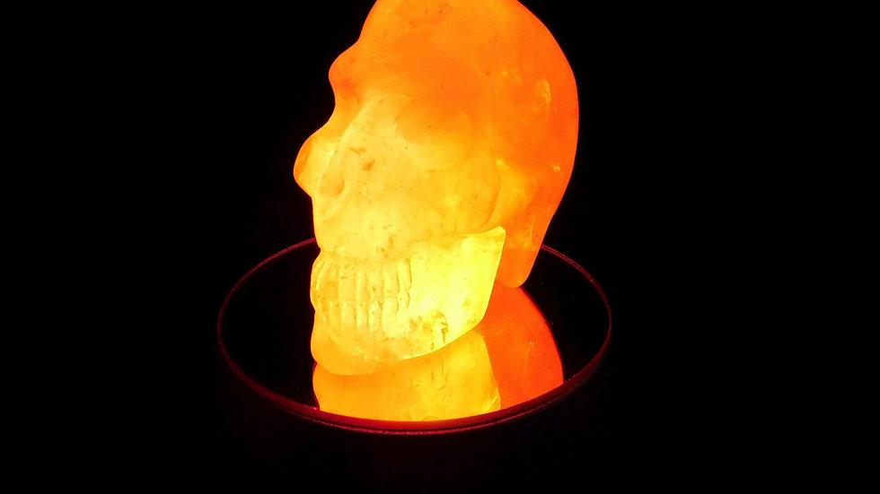 65mm x 59mm x 38mm 193g Cut & Polished Clear Quartz Crystal Skull on LED Stand